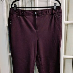 Style & Co Burgundy Straight-Leg Trousers